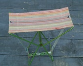 Vintage Metal Folding Camping Stool with Multi-coloured Seat