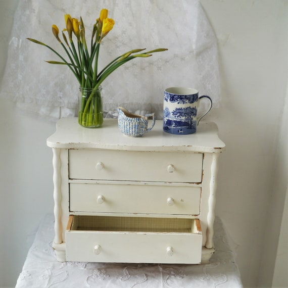 Vintage Painted White Chippy Chest of Drawers