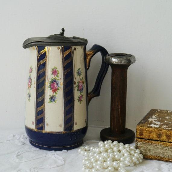 Decorative Vintage Ceramic Jug with Pewter Lid
