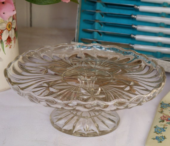 Vintage Glass Cake Stand, Clear Glass Cake Stand, Aternoon Tea Cake Stand, Pedestal Cake Stand