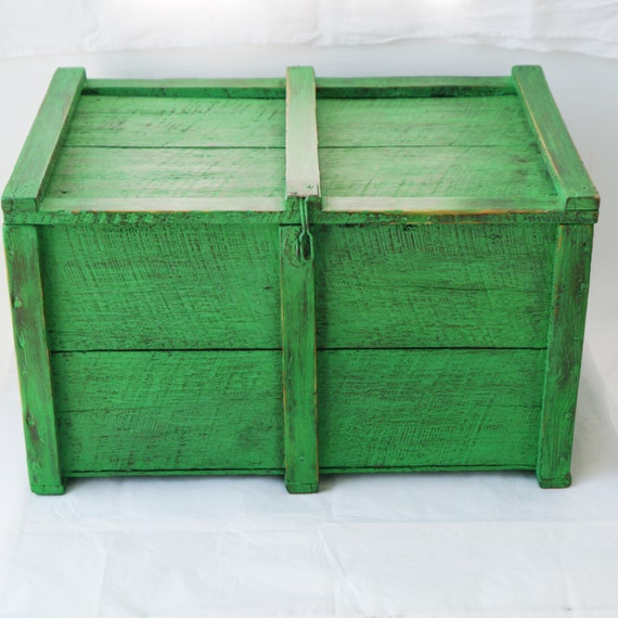 Vintage Painted Wooden Crate with Lid