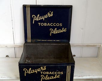 Vintage Tin, Players Tobacco Tin for Shop Counter, Blue Players Tobacco Tin, Antique Players Blue Counter Tobacco Tin, Vintage Storage Tin