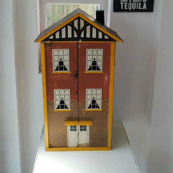 Vintage Dolls Townhouse, Wooden Handmade Dolls House, Vintage Interiors, Vintage Play Time