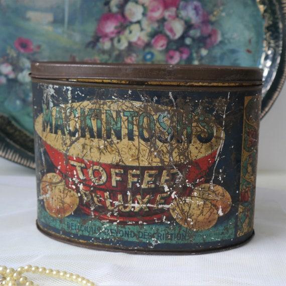 Antique Mackintosh Toffee Deluxe Tin, Vintage Storage Tin