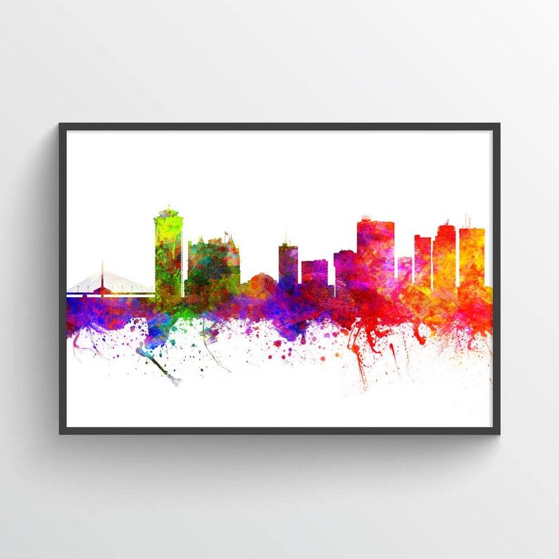 Winnipeg Manitoba Skyline In Color Poster Home Decor Gift
