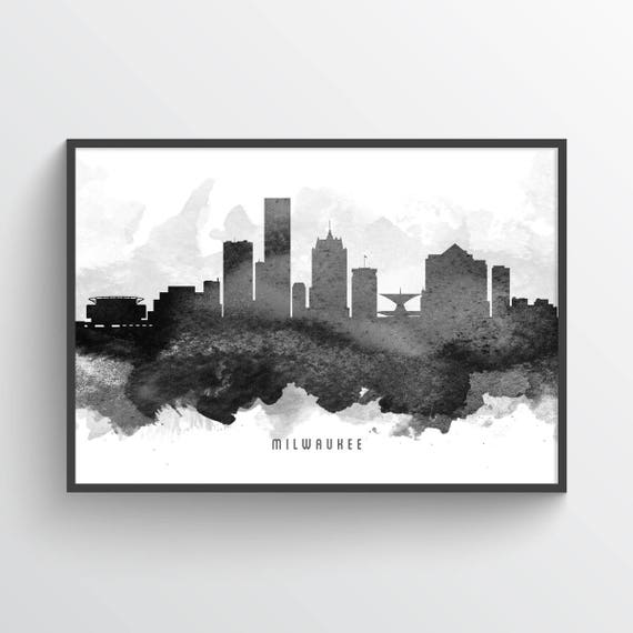 milwaukee wisconsin skyline poster milwaukee art milwaukee etsy