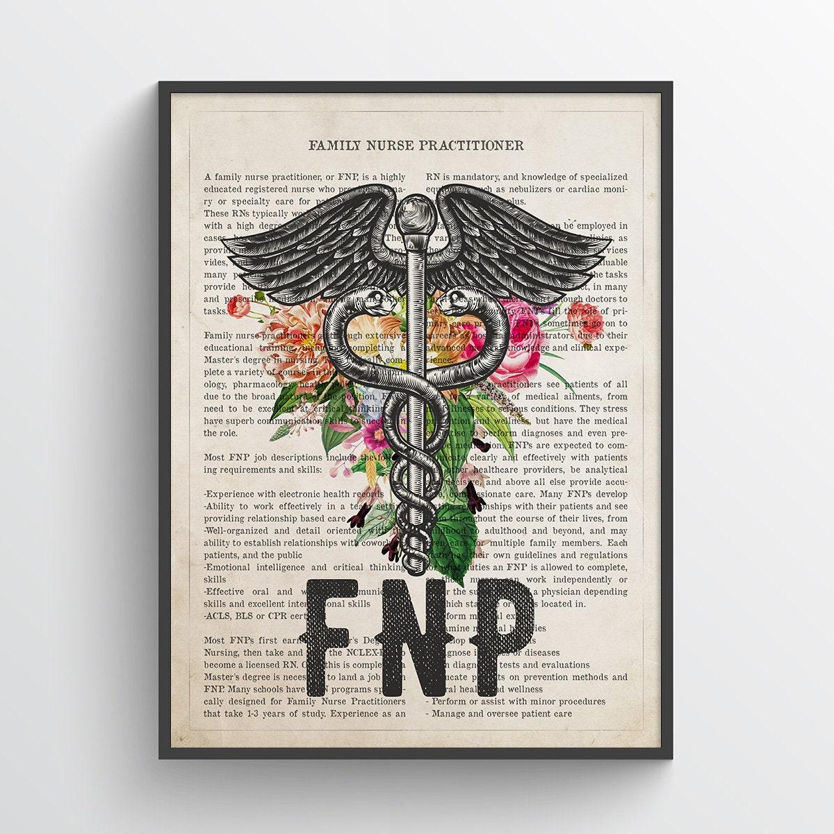 FNP with Flowers Print, Family Nurse Practitioner Gift, Nurse Present,  Nursing School Graduation Gift Idea, FNP Office Decor, FNP Wall Decor