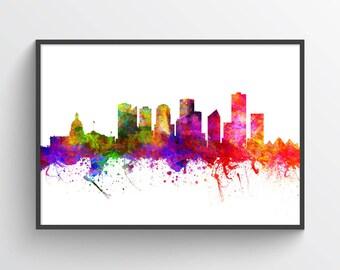 Edmonton Alberta Skyline In Color Poster, Edmonton Print, Edmonton Decor, Home Decor, Gift Idea, CAABED02P