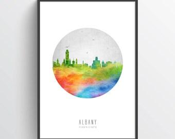 Albany Skyline Poster, Albany Cityscape, Albany Art, Albany Decor, Albany Print, Home Decor, Gift Idea, USNYAL05P