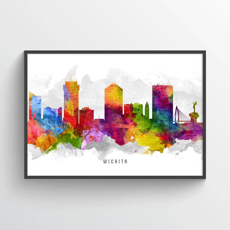 Wichita Kansas Skyline Poster Wichita Print Wichita Art Etsy