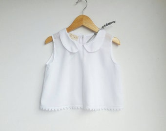 Girls Vintage Look Handmade Top with Peterpan Collar and Lace Detailing