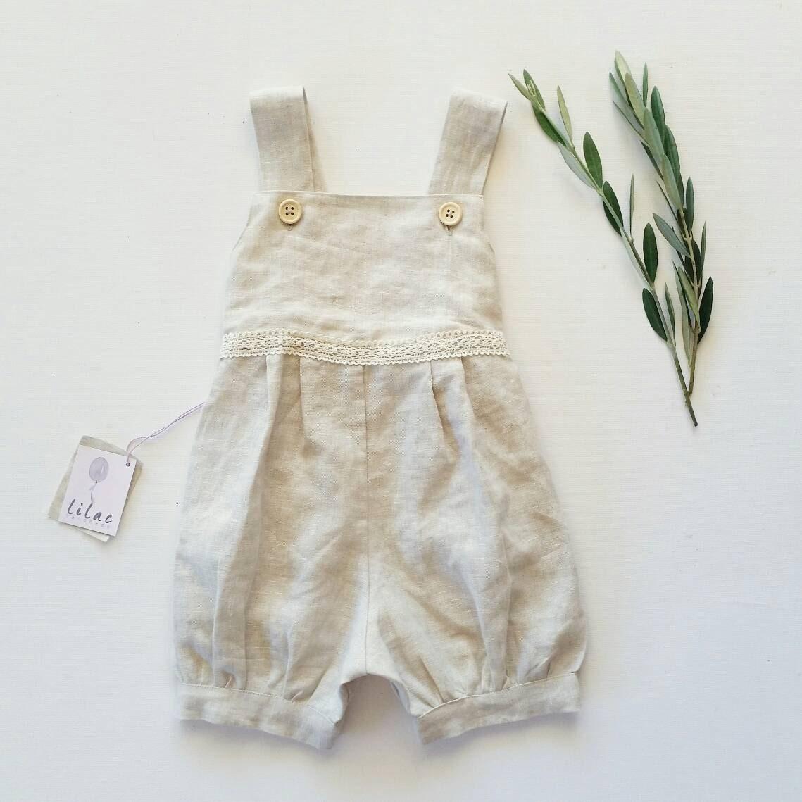 66cebc35d Girls handmade ' Layaan ' linen lace romper | vintage look