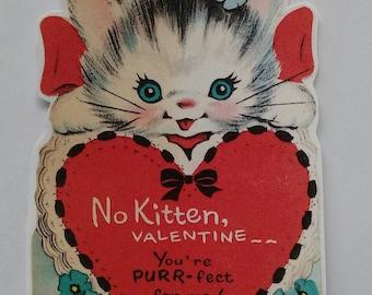 Vintage kitsch Valentine's card sticker with cute kitten x2