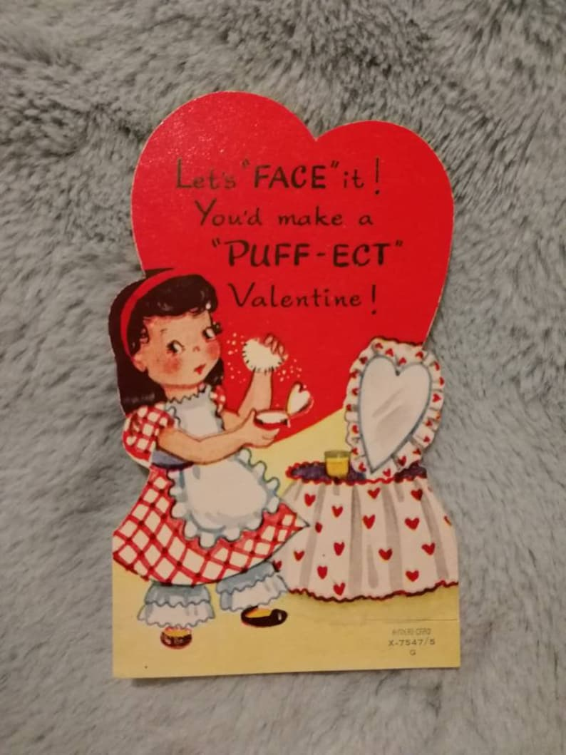 48e171d641f Vintage genuine 1940s small valentines greeting card with girl