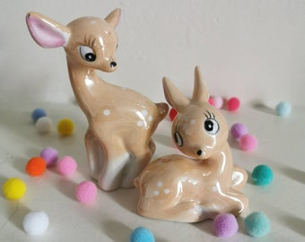 Vintage kitsch lustre ware bambi deer ornaments pair 1960s made in china