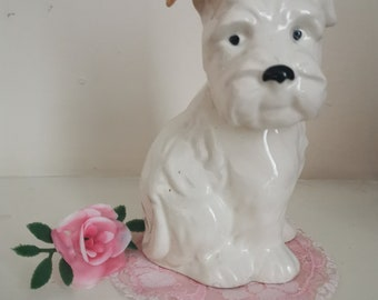 Vintage kitsch Beswick white large westie dog ornament with brown ear 1940s