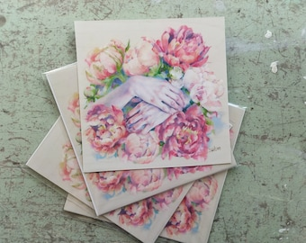Peonies and Hands, Print