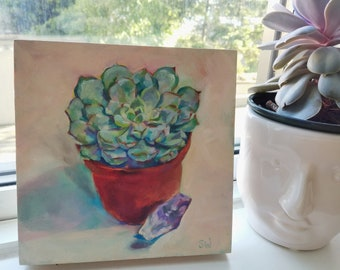 Potted Succulent, Oil on Wood, Original