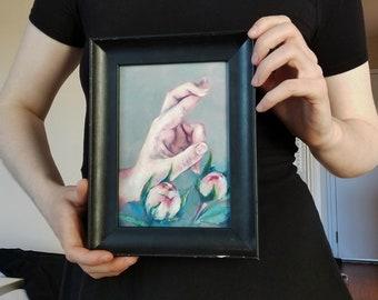Fingers Crossed, Peony buds, Original Art, Oil on Panel, Framed