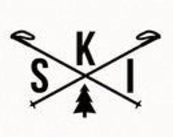 Snow Ski Wall Decal sticker Snow Ski window sticker Snow Ski sticker Male Female Snow skier gift Snow Ski computer laptop tablet decal