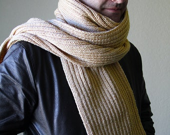 Extra long mens scarf. Made to order. Hand knitted winter scarf.