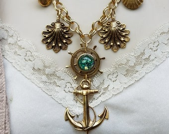 Nautical Themed Charm Necklace, Repurposed Vintage Jewelry Necklace, Seashell/Anchor/Ships Wheel Gold Charm Necklace, Vintage Green Opal