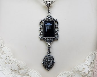 B'Sue by 1928 Black & Silver Frame Pendant, Repurposed Vintage Jewelry, Black Faceted Stone Pendant,Silver Floral Pendant,Victorian Pendant