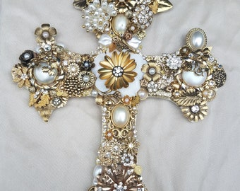 Decorated Cross, Repurposed Vintage Jewelry Assemblage/Collage Cross Gold, Pearl, Crystal Decorated Wall Cross, Floral Cross,Gold Rose Cross