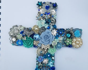 Decorated Cross, Repurposed Jewelry Assemblage/Collage Wall Cross, Blue Crystal Cross, Butterfly Cross, Floral Cross, Blue Rose Wall Cross