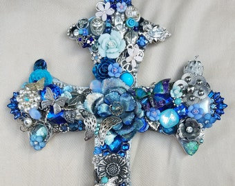 Decorated Cross, Blue Repurposed Vintage Jewelry Assemblage/Collage Wall Cross, Mixed Media Cross, Butterfly, Swarovski Crystal, Handmade
