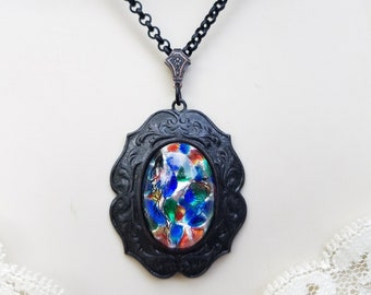 Vintage Czech Glass Opal Victorian Style Pendant, Black Cameo Necklace, Opal Necklace, Opal Pendant,Repurposed Vintage Jewelry,Vintage Opal