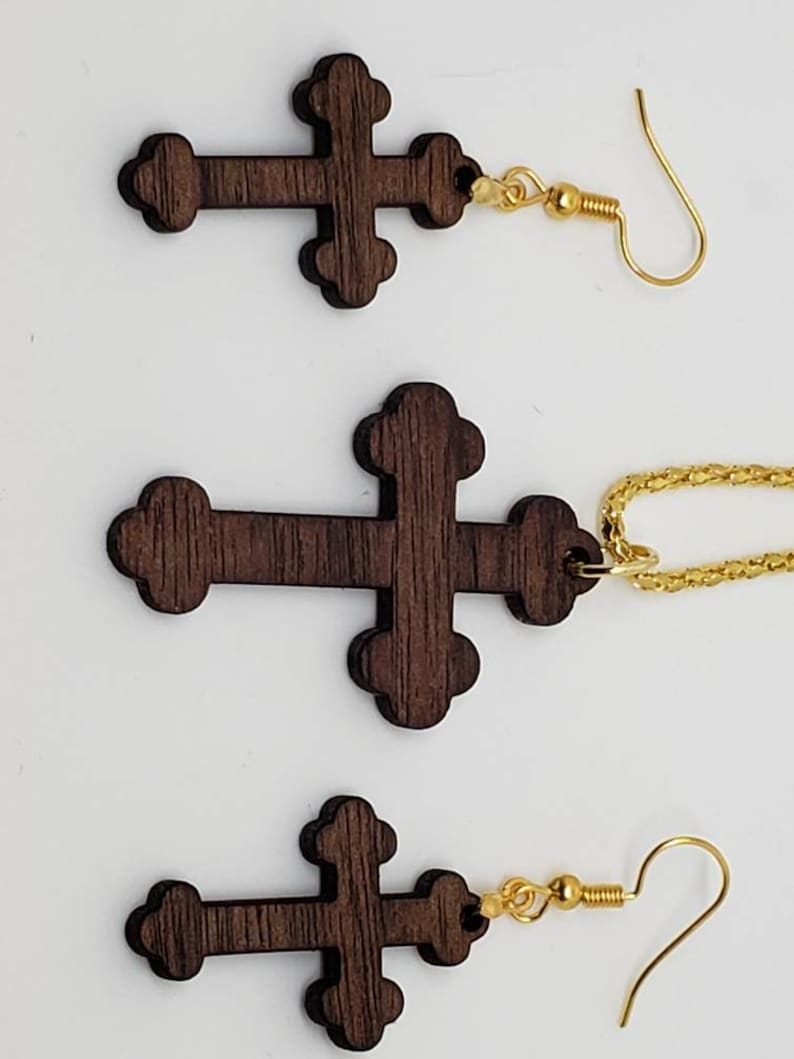 Handmade Solid Walnut Wood Necklace And Earrings S8