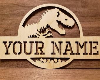 Personalized wood dinosaur wall sign  bedroom door sign