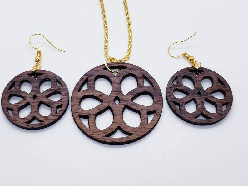 Handmade Solid Walnut Wood Necklace And Earrings S3