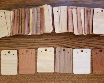 Wholesale packs of rectangle wood vaneer earring cards