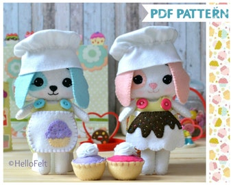 PDF PATTERN: Toffee and Brownie. Felt PDF Sewing Pattern Doll Puppy, Felt cupcake pattern. Set of 2. Dress up puppy
