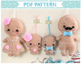 PDF PATTERN: Gingerbread Man and Family. Felt Christmas ornaments Sewing PDF Pattern.