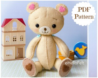 PDF PATTERN: Kumi The Bear, Plush Doll Pattern, Softie Pattern, Soft felt bear Pattern.