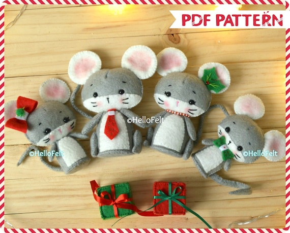 Christmas Mouse.Pdf Pattern Christmas Mouse Family Felt Sewing Pattern Christmas Ornament