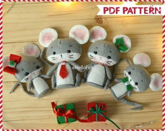PDF Pattern, Christmas mouse family, Felt sewing pattern, Christmas ornament.