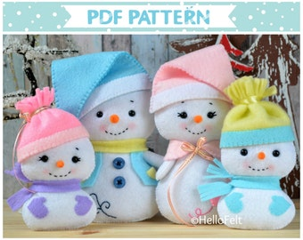 PDF PATTERN: Snowman and Family. Felt doll snowman Christmas ornaments Sewing PDF Pattern.
