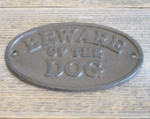 Cast Iron Beware Of The Dog Sign Rustic Wall Decor Fence Gate