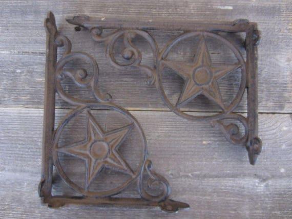 2 Cast Iron Shelf Brackets Western Texas Lonestar Lone Star