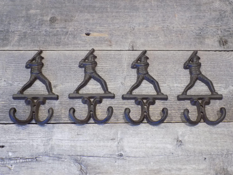 Cast Iron Antique Style BASEBALL PLAYER Coat Hooks Hat Hook Rack Towel  BAT