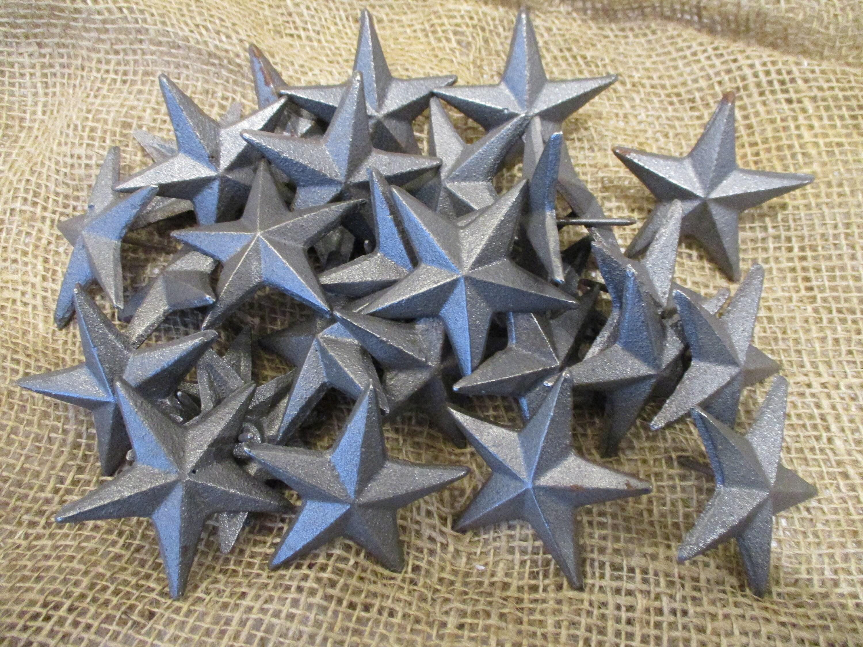 "25 Rustic Star Nails Craft Pins 3 1//2/"" Cast Iron Decorative Wall Decor Texas"
