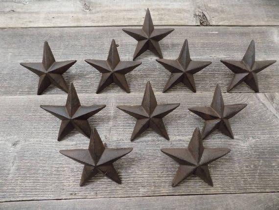 "10 Star Nails Craft Pins 3 1//2/"" Cast Iron Decorative Wall Decor Texas USA Flag"