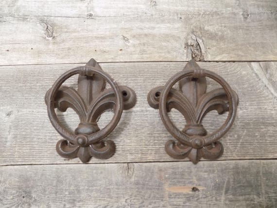 2 Cast Iron Antique Style Fleur De Lis Door Knockers Towel | Etsy