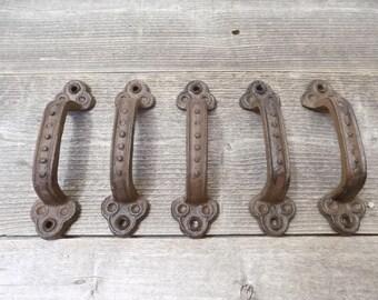 "5 Cast Iron Handles Rustic Gate Door Pulls Hardware Cabinet Drawer Fence Western Kitchen Bathroom Western Craft Texas Chest 5 1/2"""