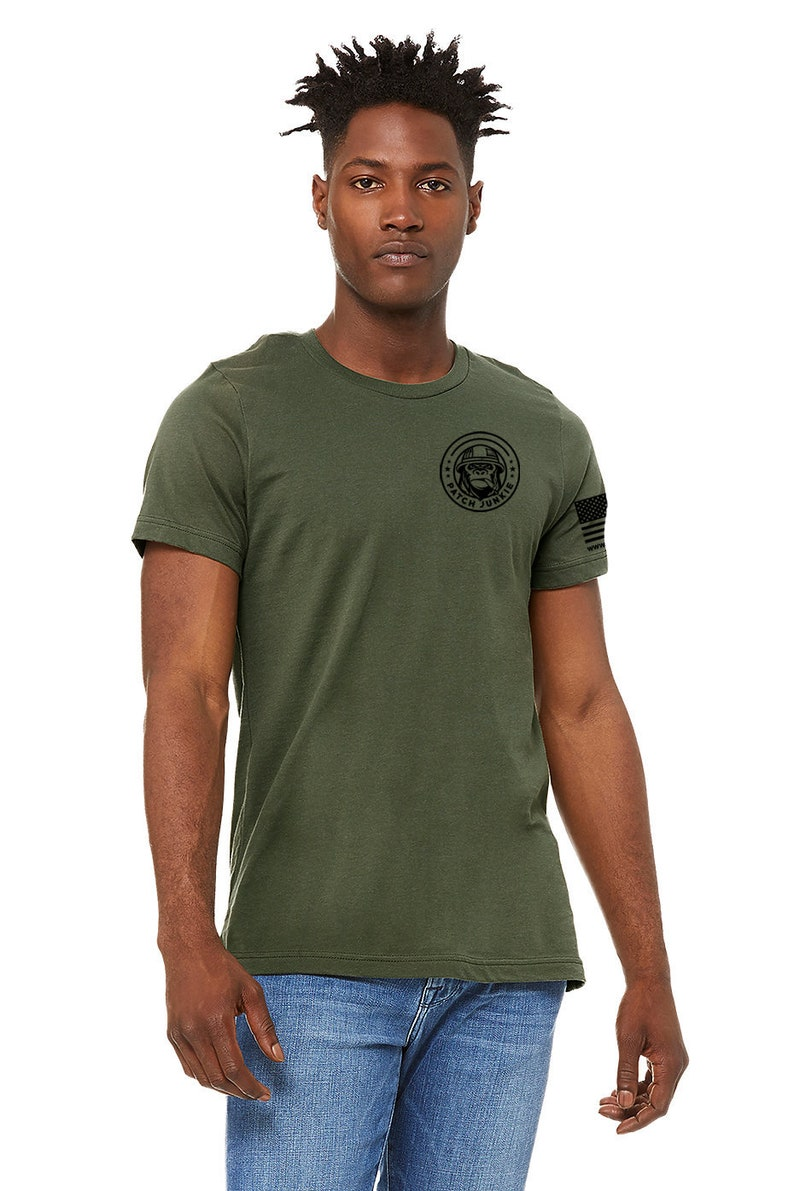 Patch Junkie T-Shirt Military Green & Black Decals image 0