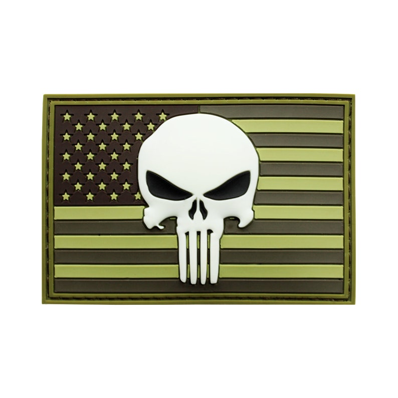 American Flag Skull PVC Patch OD Green image 0
